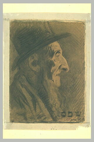 Tête de vieil israélite, coiffé d'un haut-de-forme