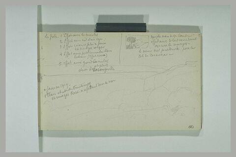 Annotations manuscrites ; falaises surplombant la mer à Varengeville