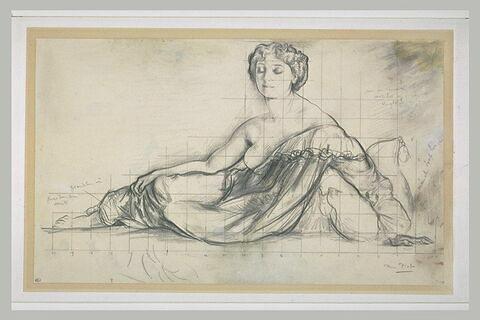 Marie Piot, femme de l'artiste, à demi étendue, le bras gauche soutenu...