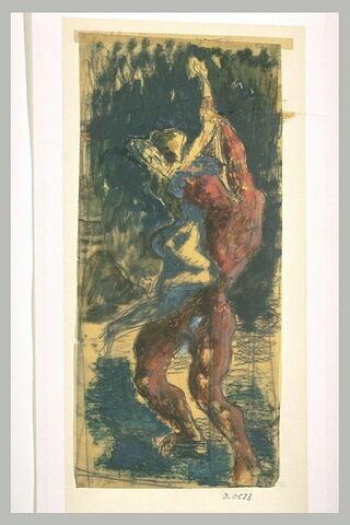 Colosse rouge, debout de trois quarts élevant au-dessus de lui une femme nue