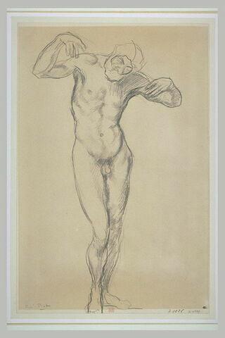 Homme nu, barbu, la tête penchée en avant, de face, les bras repliés...