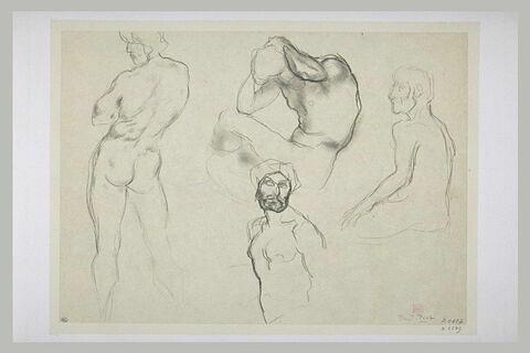 Quatre études d'hommes nus ; à gauche, homme debout de dos, les bras croisés