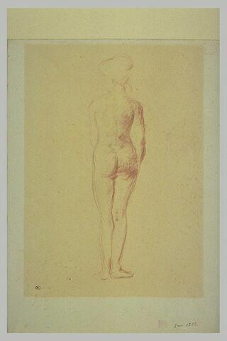 Jeune femme nue, vue de dos, coiffée d'un chignon