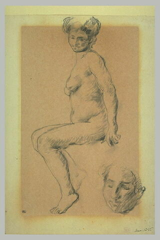 Femme nue assise, de profil, et reprise du visage