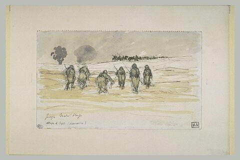 Soldats montant à l'assaut