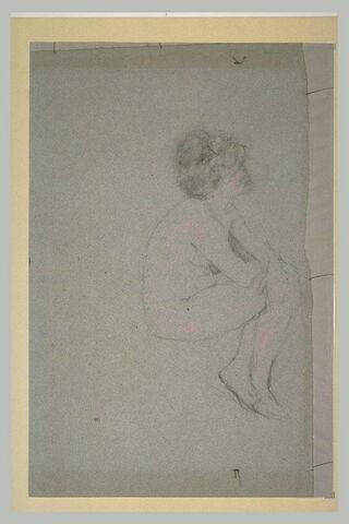 Femme nue, assise, de profil à droite