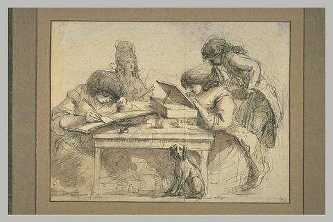 Deux hommes écrivant à une table, entourés de deux personnages