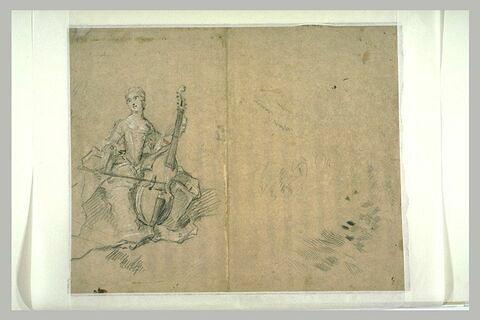 Etude pour le portrait de Madame Henriette de France jouant de la basse de viole