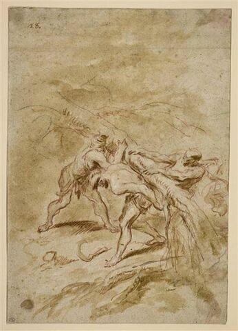 Trois bûcherons transportant un tronc d'arbre