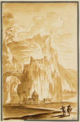 Paysage montagneux avec deux figures de voyageurs