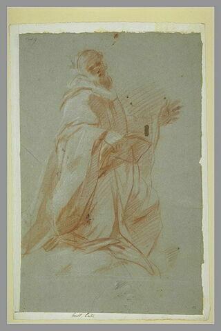 Homme drapé, à genoux, tenant un livre : un moine ? Croquis de main