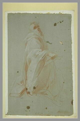 Homme drapé, à genoux, tenant un livre : un moine ?