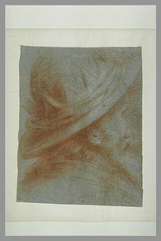 Tête d'homme barbu, couronné, de profil à droite