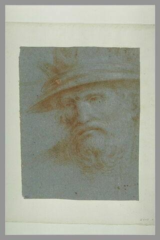 Tête d'homme barbu, couronné, de trois quarts à gauche