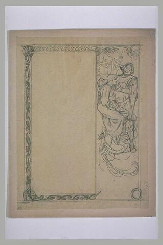Homme et jeune bergère en costume médiéval, dans un paysage