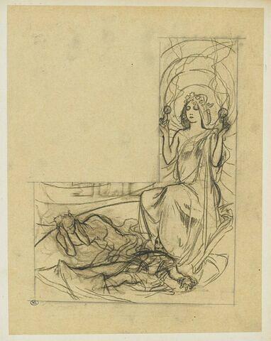 Jeune femme avec une couronne d'étoiles, deux figures allongées