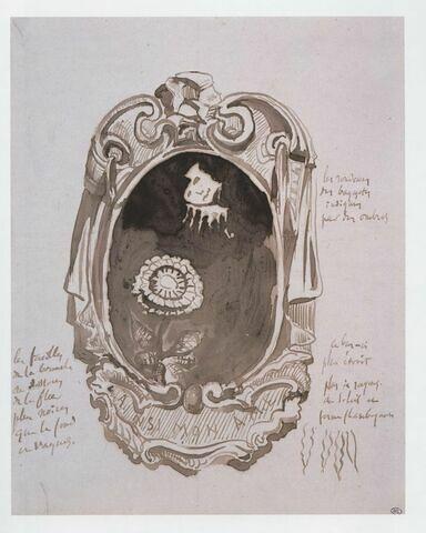 """Dessin fantastique : à l'intérieur d'un encadrement ovale dans le style baroque portant dans le cartouche l'inscription : """"AINSI MON AME, une sorte de soleil à visage humain émerge des nuées sombres et regarde une grosse fleur dressée sur sa tige""""."""