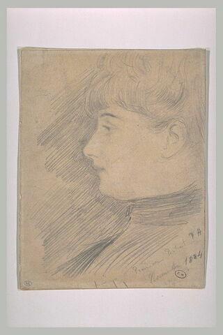 Portrait de jeune femme en buste, de profil