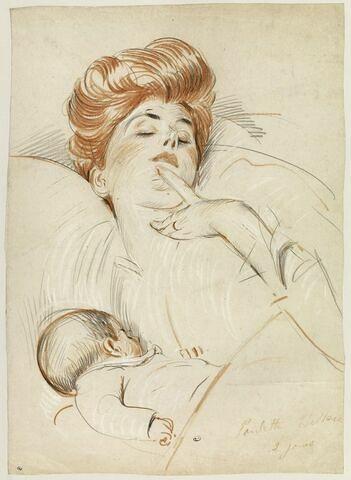 Mme Helleu, endormie, ayant sa fille contre son sein
