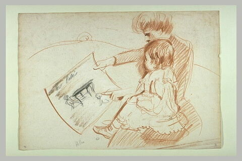 Paulette enfant sur les genoux de sa mère