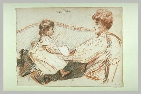 Mme Helleu allongée sur un canapé avec Paulette