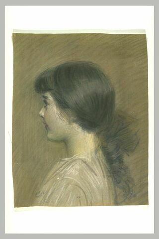 Portrait de Paulette jeune fille, en buste, de profil