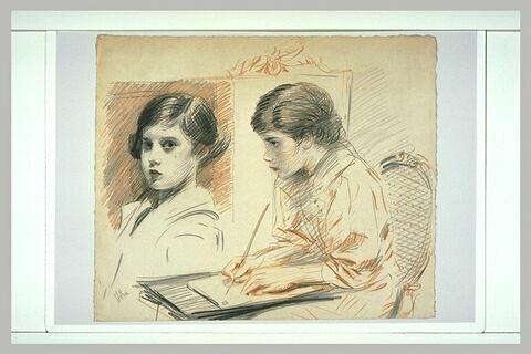Paulette assise, de trois quarts à gauche, dessinant ; Paulette,  en buste