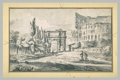 L'arc de Constantin et le Colisée, à Rome