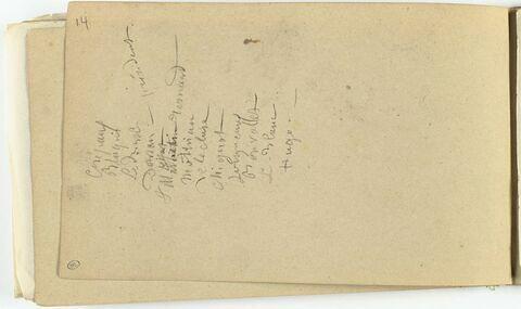 Liste manuscrite de noms