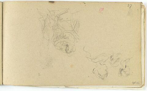 Deux personnages,dans les bras l'un de l'autre, et étude de trois têtes