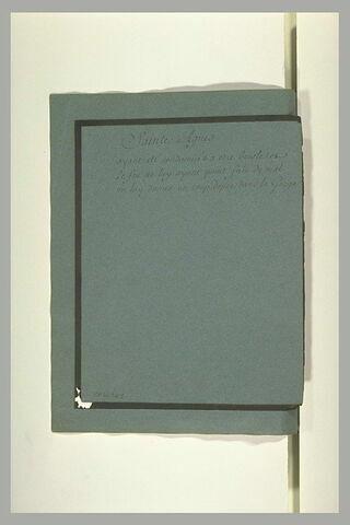Annotation manuscrite : 'sainte Agnès'