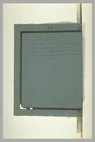 Annotation manuscrite : 'saint Clément...'