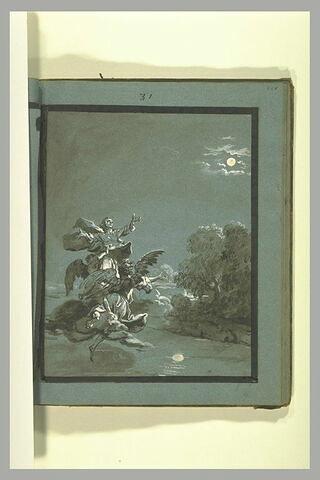 Sainte Aldegonde franchissant la rivière