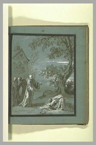 Sainte Scholastique suppliant saint Benoît son frère de rester auprès d'elle