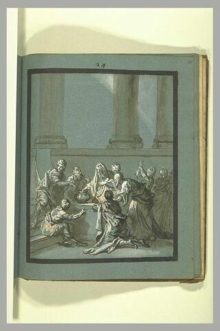 Groupe de personnages entourant un vieillard, au pied d'une colonnade