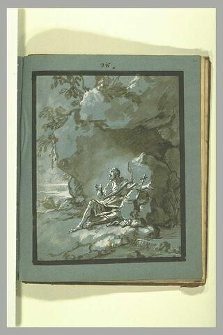 Saint Romain devant sa grotte