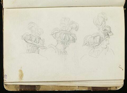Trois têtes d'hommes coiffées de chapeaux ornés de plumes