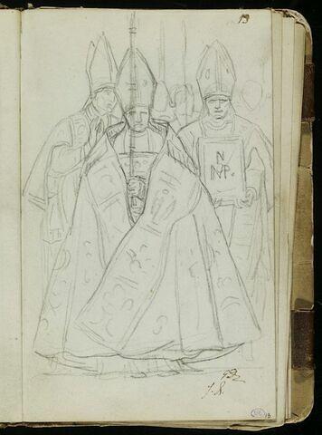 Groupe de prélats, l'un revêtu d'un chape et portant la hampe d'une croix