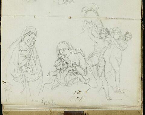 Etudes de la Vierge de la Nativité, et deux femmes nues