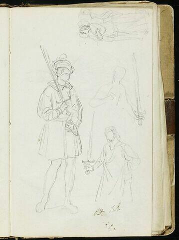 Jeune homme en costume médiéval, et croquis inachevés de personnages
