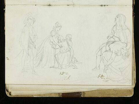 Feuille de personnages, dont une femme avec deux hommes à genoux