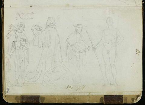 Deux personnages, un prêtre, un prélat, et une étude d'homme nu