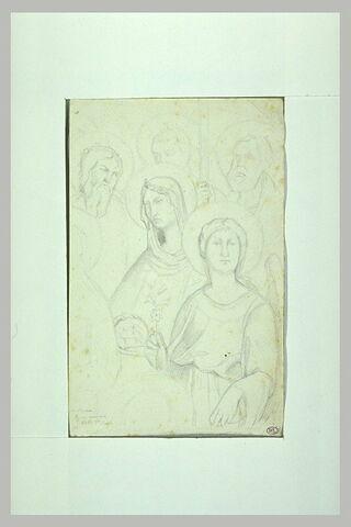 Groupe de cinq figures de saints et de saintes