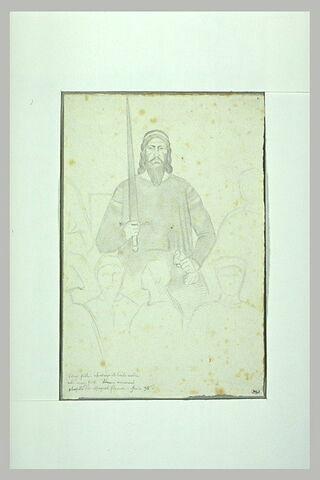 Personnage barbu tenant un glaive et esquisse d'autres figures