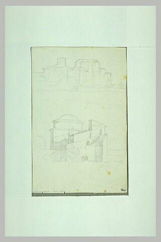 Deux vues d'église ou de monastère en Italie