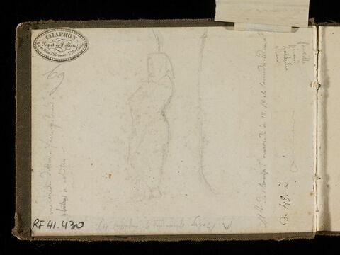 Un moine debout adossé à un arbre ; notes manuscrites