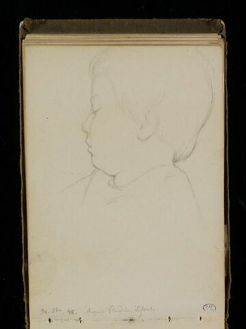 Tête d'enfant, les yeux baissés, de profil à gauche
