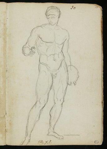 Athlète nu, tenant un disque, la tête tournée vers la gauche