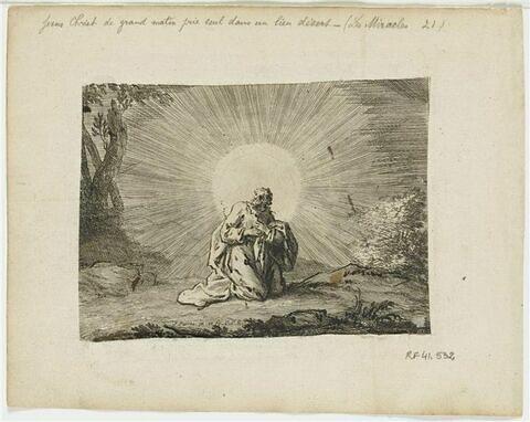 Jésus-Christ de grand matin priant seul dans un lieu désert