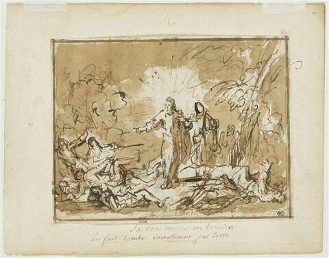 Les Soldats tombent à terre en arrêtant Jésus